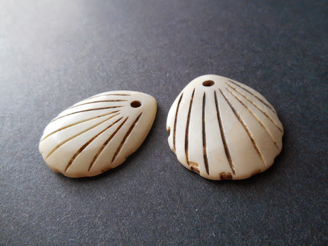 Carved Bone Scallop Shell Pendants