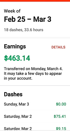 A good week delivering with DoorDash.
