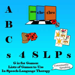 ABCs 4 SLPs: G is for Games - Lists of Games to Use in Speech-Language Therapy image