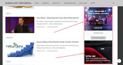 Mendapatkan passive income dari Ad Space Di Website