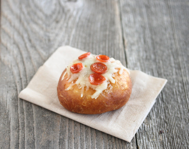 one pizza donut on a napkin
