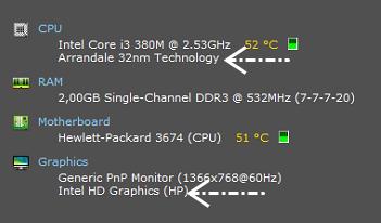 Spesifikasi CPU dan Graphics card