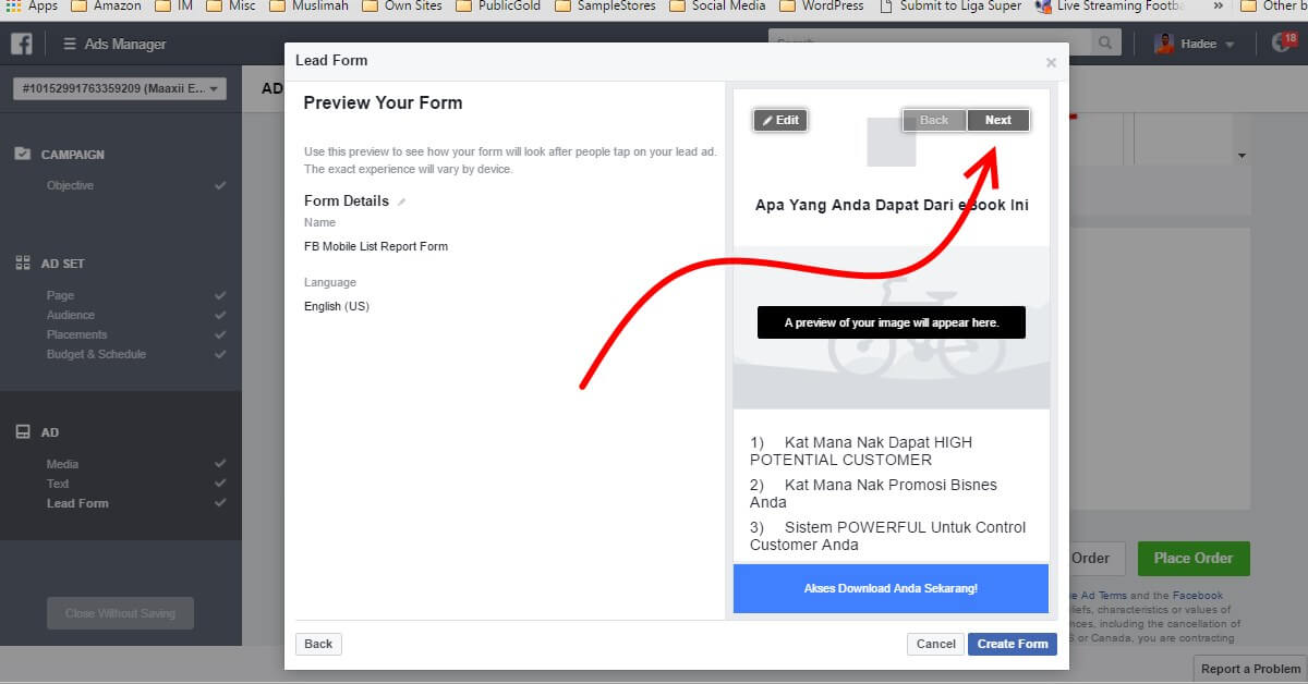 Facebook Ads Ad Lead Form Preview