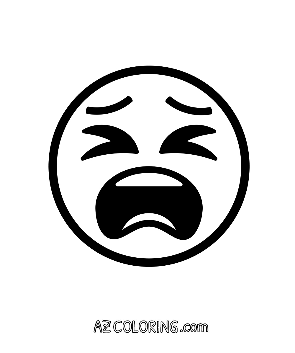 tired face exhausted fed up emoji coloring page - Coloring Page Emoji
