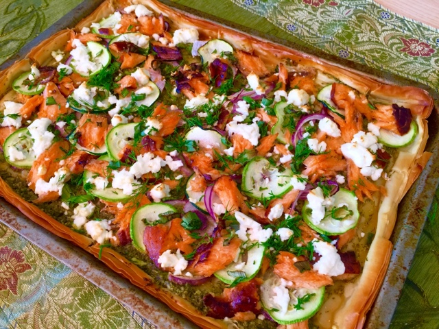 Dill pesto and smoked salmon and feta filo tart