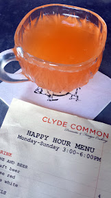 Clyde Common cocktail at happy hour, the Daily Punch this day included Gin, Lemon, Pineapple and White Wine