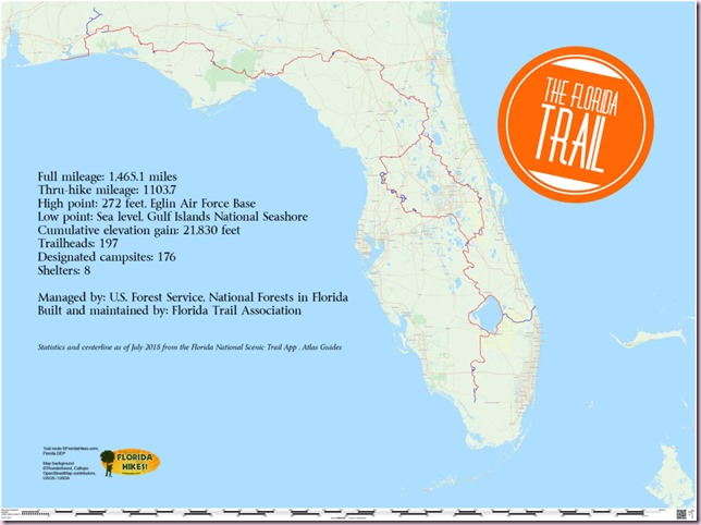 Florida Trail Overview Map 2018