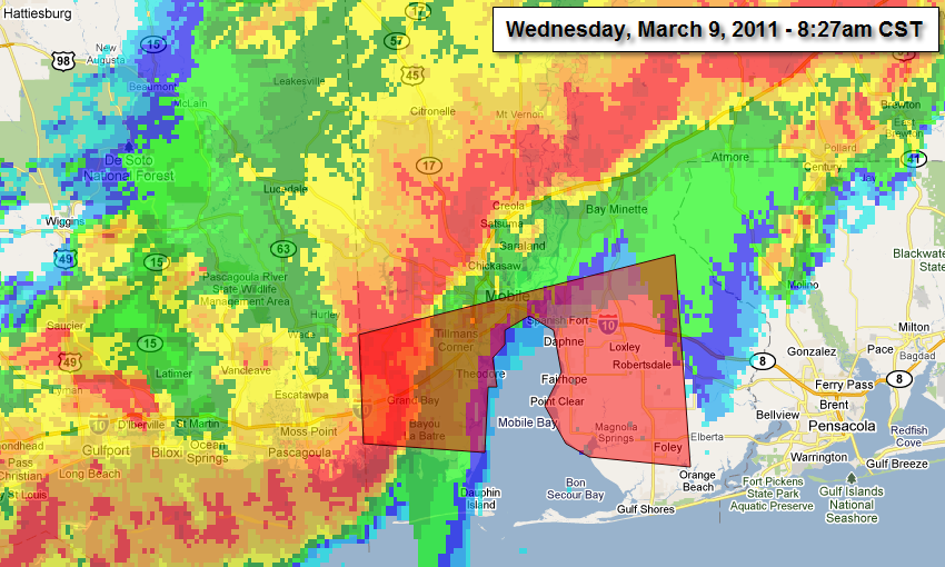 Radar and Tornado Warning about 10 minutes before damage was reported