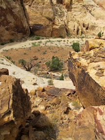 The route I used to scramble down into the canyon below the big drop