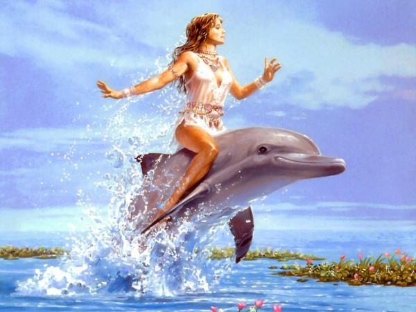 Girl Riding The Dolphin, Magic Beauties 3