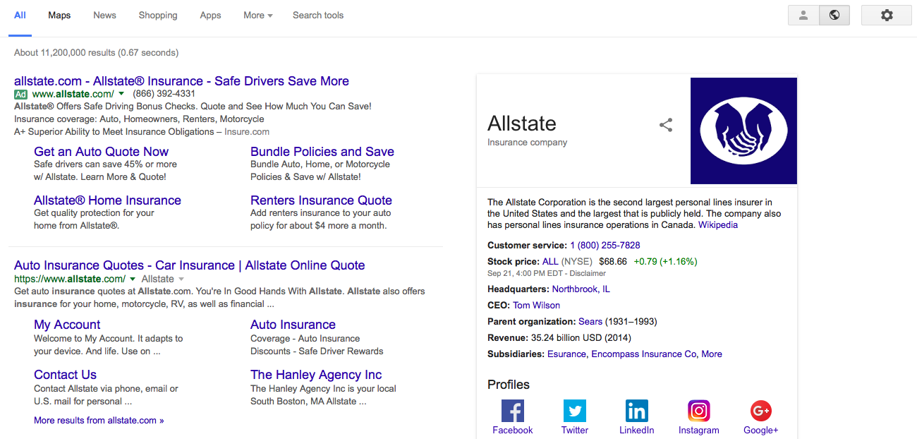 Allstate My Account >> How Do I Get A Company Information Box To Display On Google