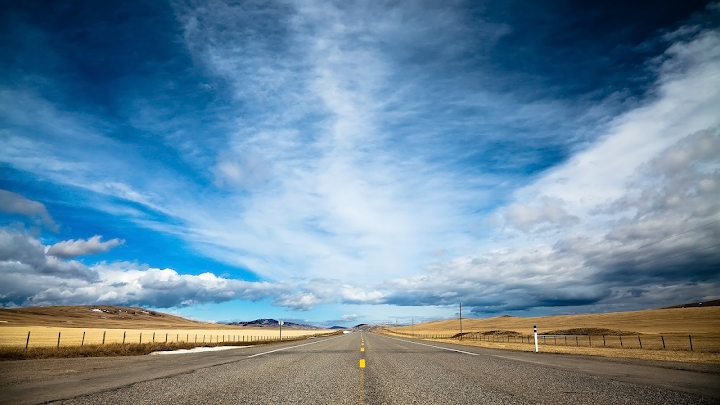 The Open Road wallpaper, western blue sky, landscapes