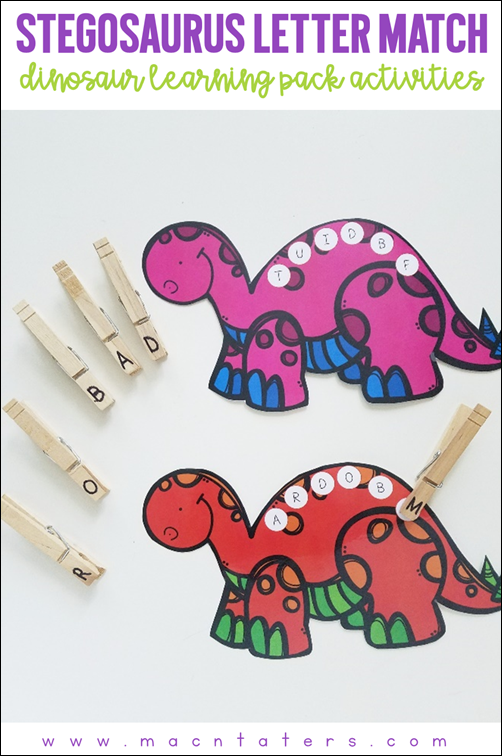 Stegosaurus Letter Match Fine Motor Activity