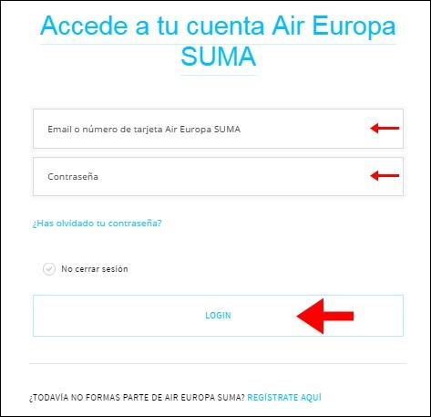 Abrir mi cuenta Air Europa - 707