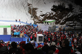 The crowds at men's aerials