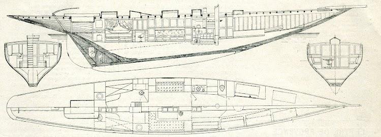 Planos del buque. De la revista Le Journal de la Marine. Le Yacht. 1910.jpg