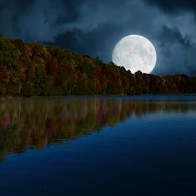 Moon Over Lake by Steve Friedman - Digital Art Places ( clouds, moon, sky, full moon, lake,  )