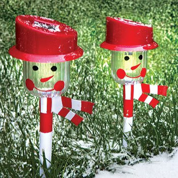 Christmas Holiday Snowman Solar-Powered Landscape Pathway Lights: (Set of 2)