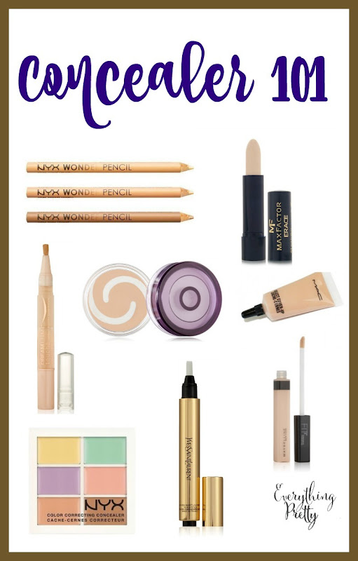 Concealers fall into 3 broad categories solid, liquid and powder and are available as: concealer sticks, concealer tubes, concealer pots and concealer creams. Below we have discussed the various types of concealers available for different purpose.