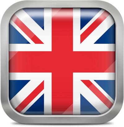 United Kingdom square flag with metallic frame