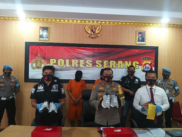 Polres Serang Tangkap Pelaku Penggelapan Sepatu Milik PT PWI