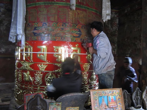 Restoration of prayer wheel at Rachen Nunnery, Tsum, Nepal, September 2012. Photo courtesy of Kopan Monastery.