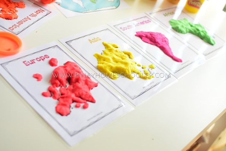 World Continents Activity Using Playdough