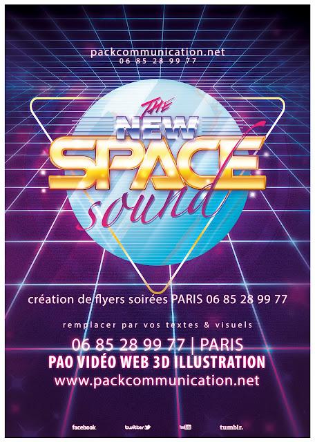 création flyers soirées thème New Space Sound