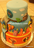 Disney - Pixar kid's birthday cake with Cars - towmator, finding Nemo and the Incredibles