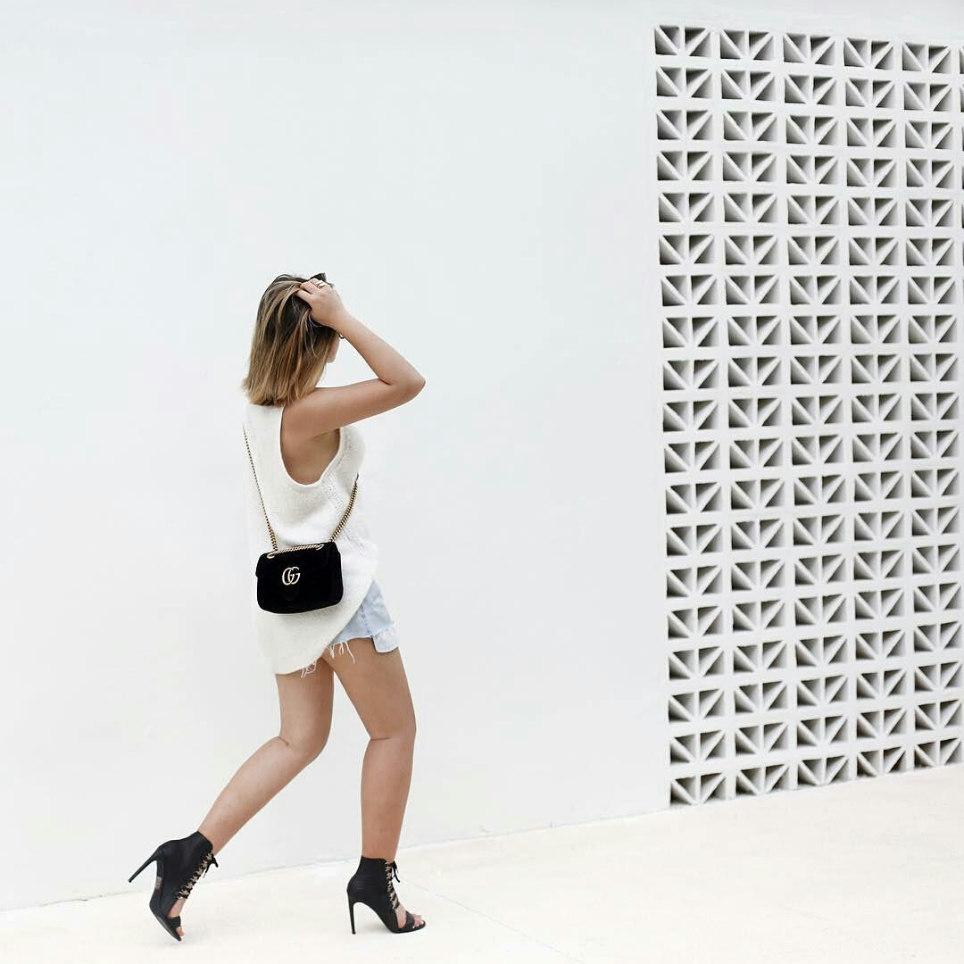 Fashion model with chanel bag