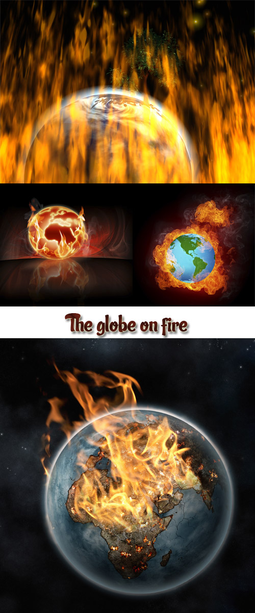 Stock Photo: The globe on fire