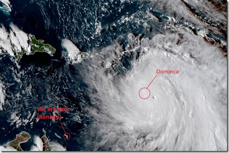 Satellite view of Maria approaching Dominica early morning, September 19, 2017.