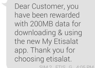 How to Get Etisalat Free 200MB Without Installing The MyEtisalat App