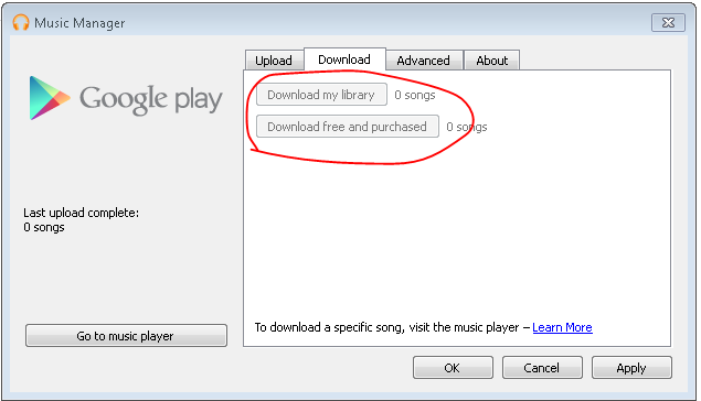 Download My Library button is disabled - Google Play Help