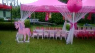 A typical garden wedding setting