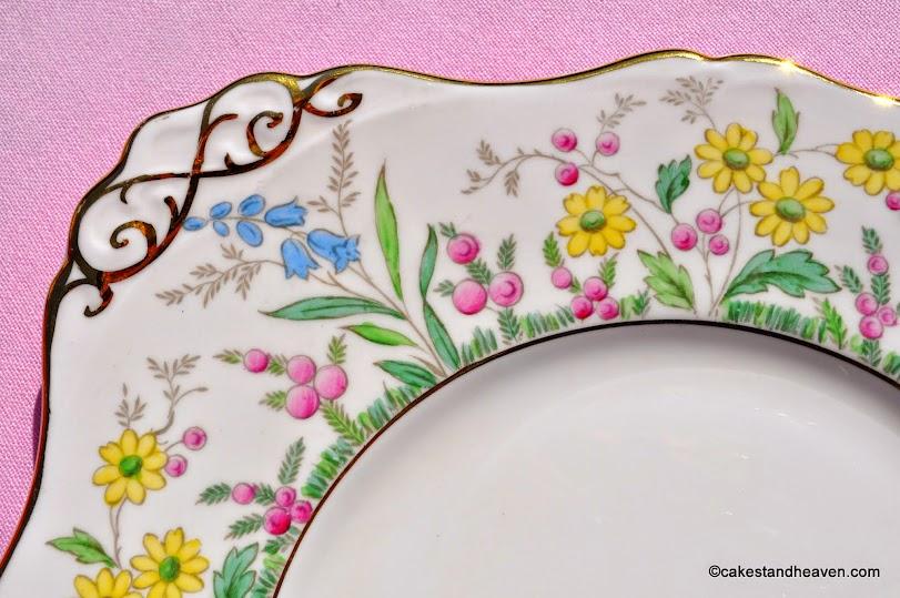 Tuscan meadow flowers vintage cake plate pattern