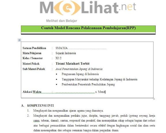 RPP Sejarah Indonesia SMA, MA Kurikulum 2013 Kelas XI-11 Terbaru