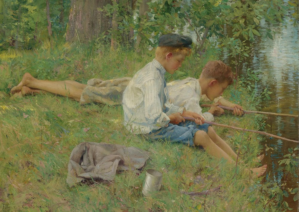Francis Coates Jones - Fishing Along The River Bank