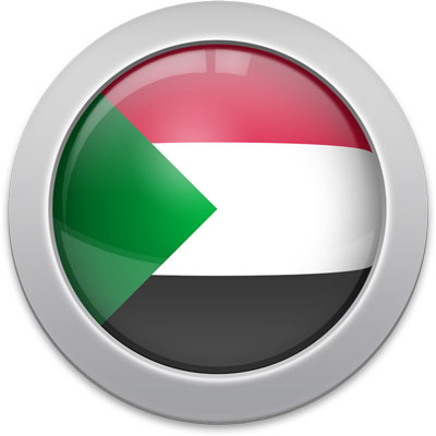 Sudanese flag icon with a silver frame