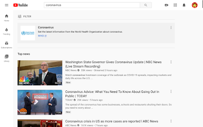 "Search results for ""coronavirus"" on YouTube."