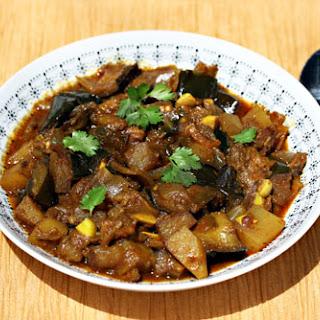 Slow cooker Punjabi eggplant with potatoes.
