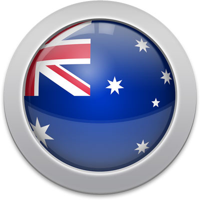 Australian flag icon with a silver frame