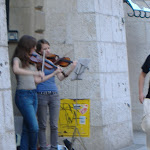 The violin players in the alley way...