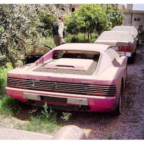 Abandoned Ferrari Testarossa and Mercedes SL500