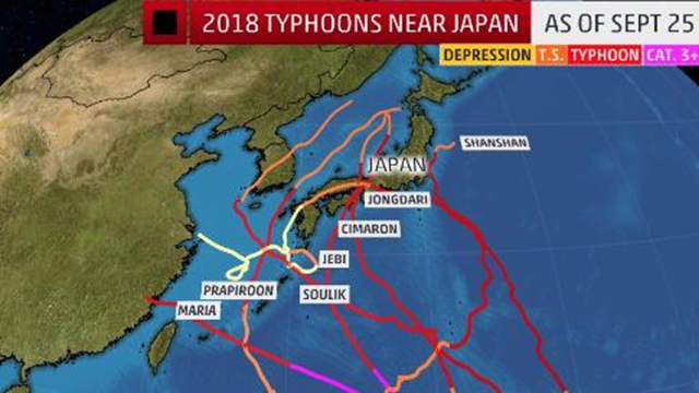 Typhoon tracks near Japan (including the Ryukyu Islands) in 2018 through 25 September 2018 . Trami will be the eighth typhoon to track over or near Japan since early July 2018. Graphic: The Weather Channel