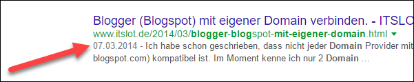 Blogger Post Datum in Google