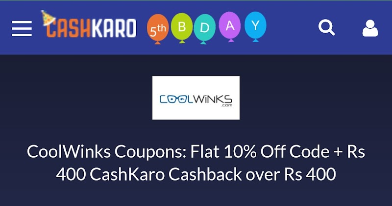 Cashkaro CoolWinks Offer - Buy CoolWinks Sunglasses/Eyeglasses for Rs 400 & Get Rs 400 CashKaro Cashback (Bank Transferable)