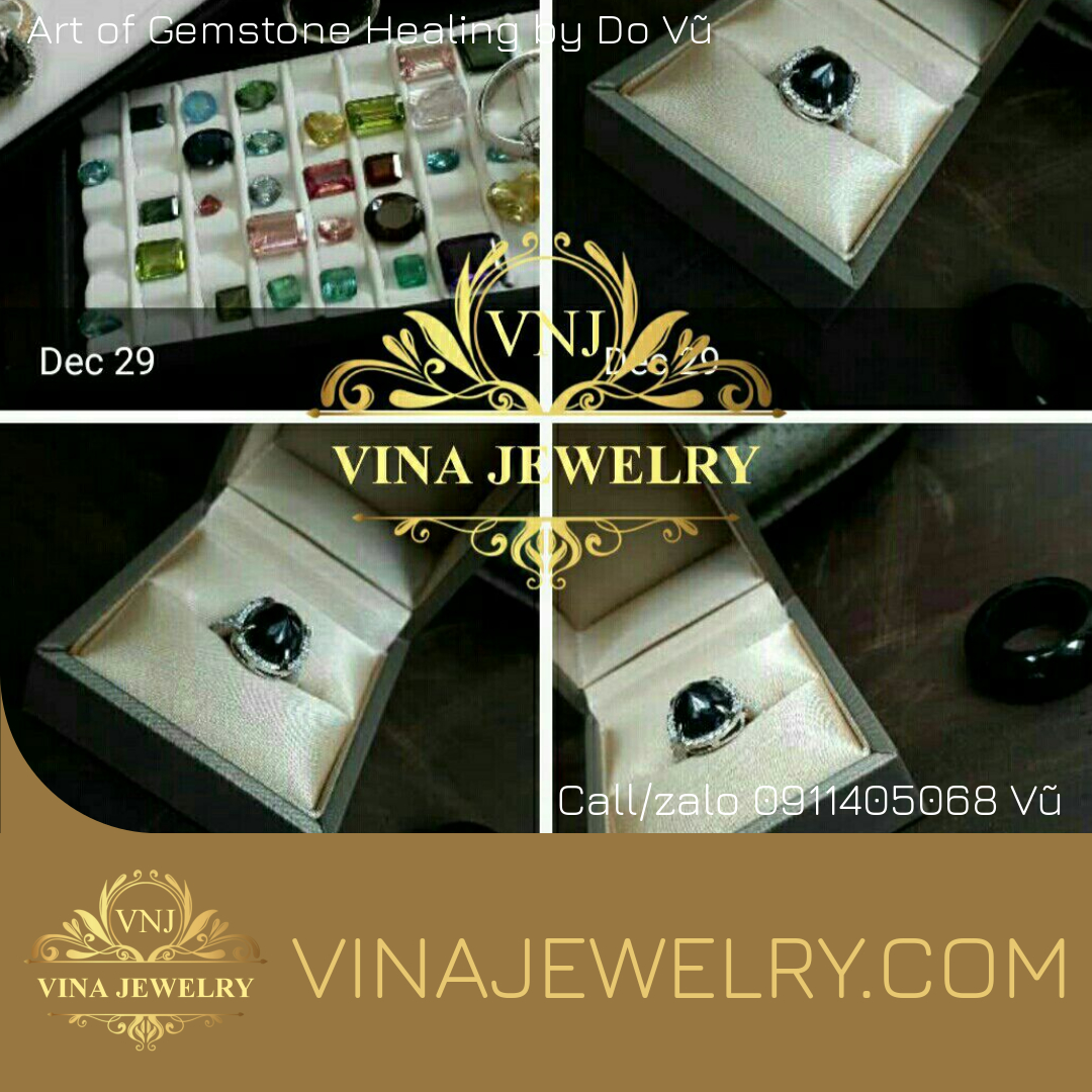Nhẫn Sapphire đen, vàng trắng