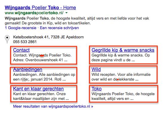 Toko Wijngaards Apeldoorn branded search met sitelinks