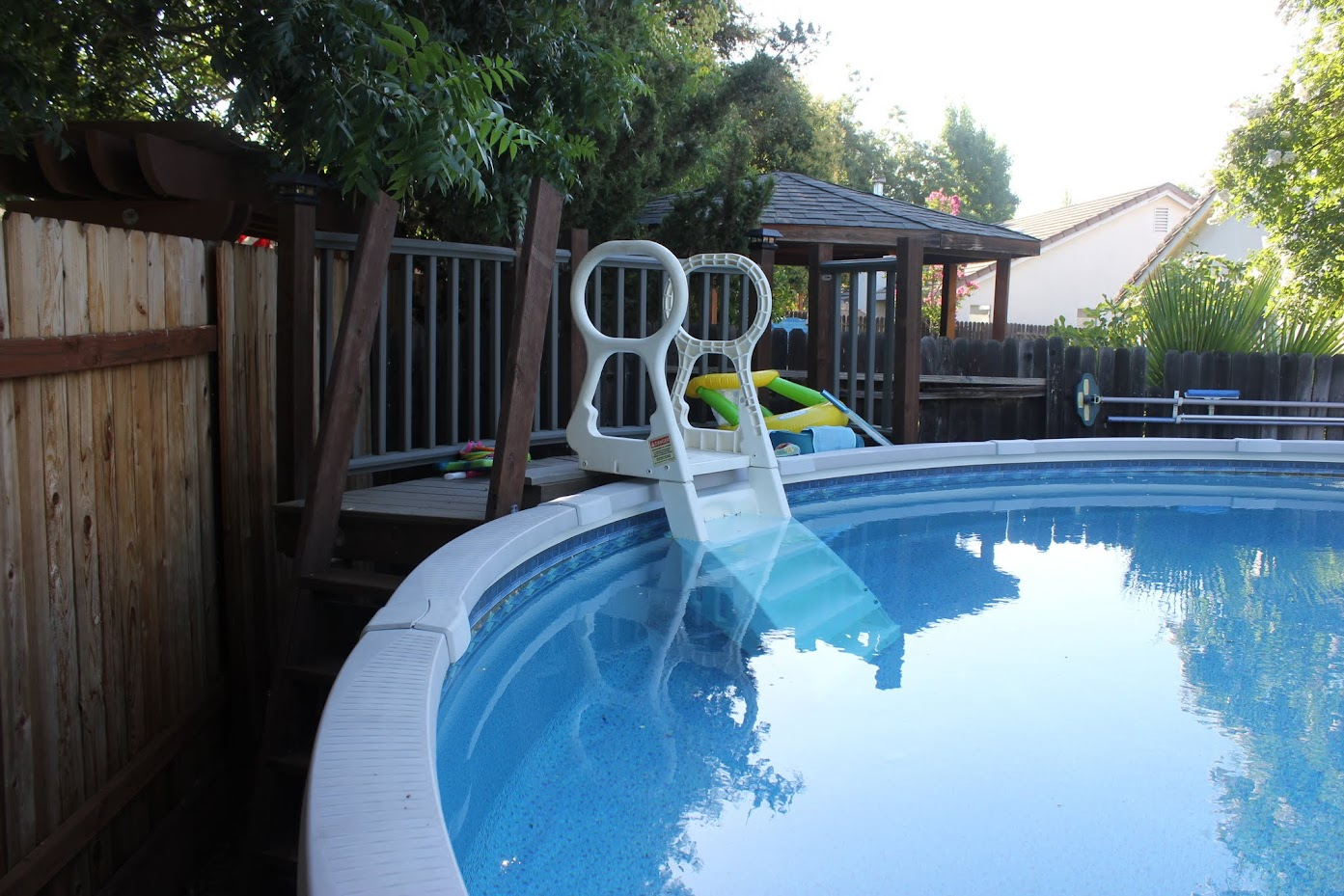 My deck and it 39 s ever increasing scope - Above ground pool steps for handicap ...